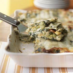 Brokolių ir morkų lazanija