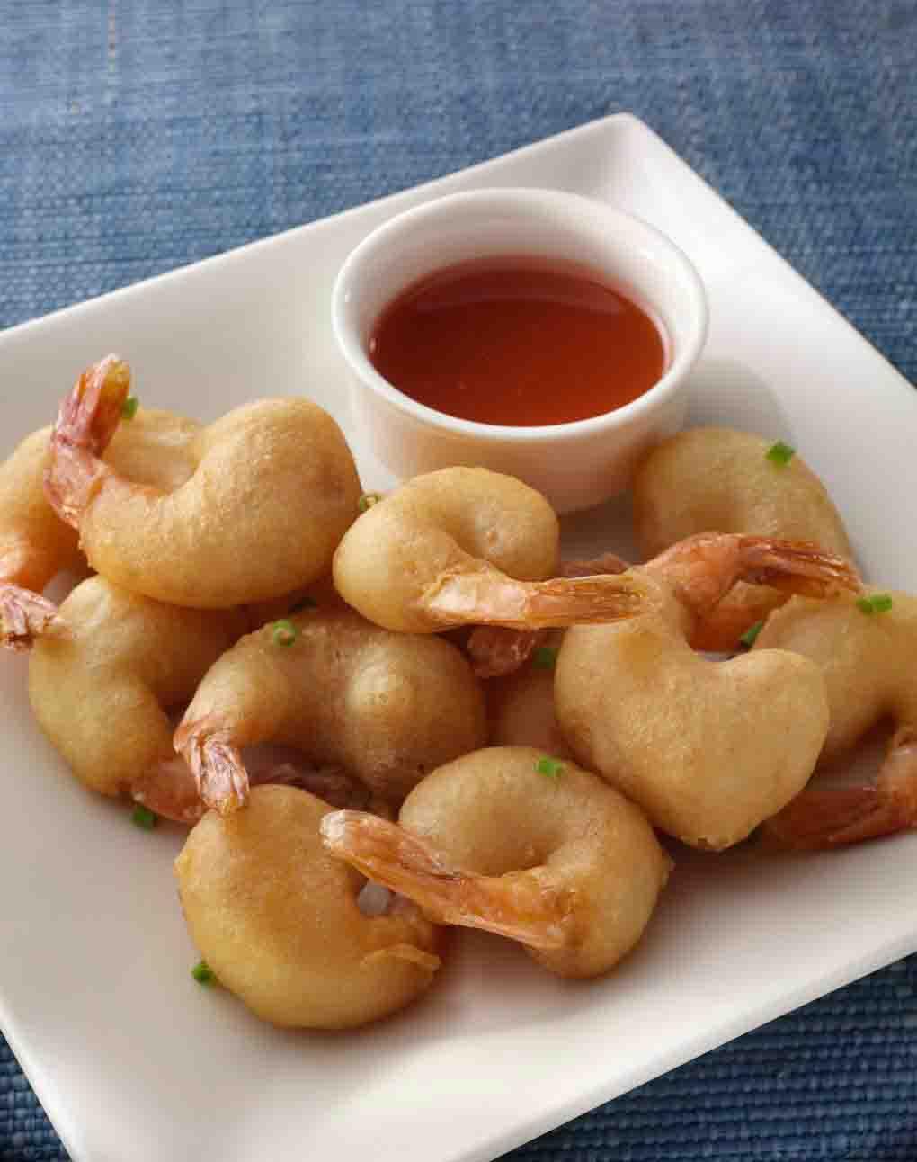 Aštrus keptų krevečių užkandis
