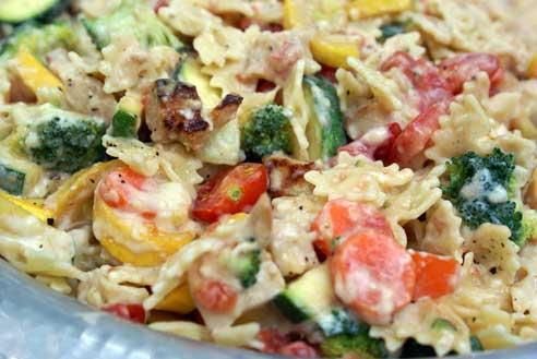 Makaronai su kiaušiniu bei daržovėmis