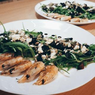 Burokėlių salotos su krevetėmis