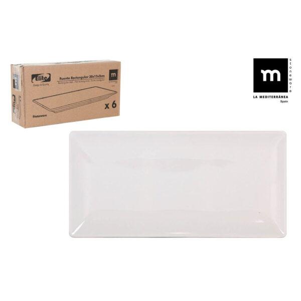Balta stačiakampė lėkštė, 30x15cm