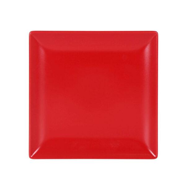 Raudona desertinė lėkštė, 21x21cm